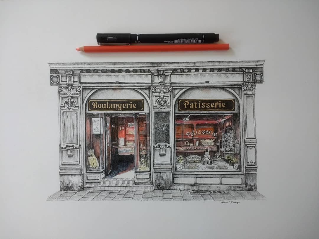 05-Patisserie-Demi-Langdoes-Drawings-of-Architectural-Details-and-Buildings-www-designstack-co
