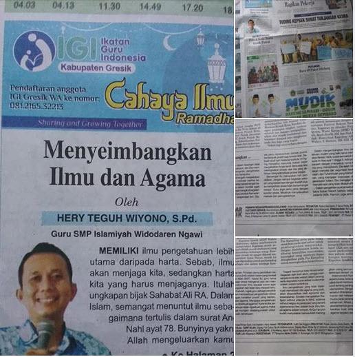 Tulisan Pak Hery Teguh Wiyono, S.Pd., Guru SMPN Islamiyah Widodaren Ngawi.