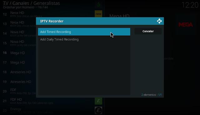 Grabar en KODI con IPTV RECODER