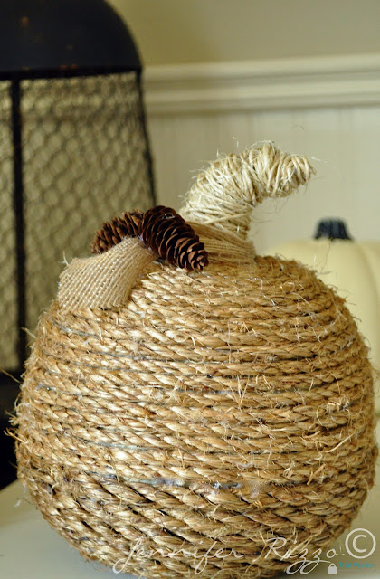 Twine wrapped pumpkin for natural texture