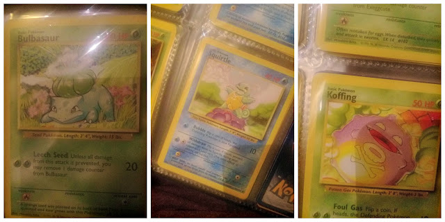 Three photos of original Pokemon cards in protective plastic.