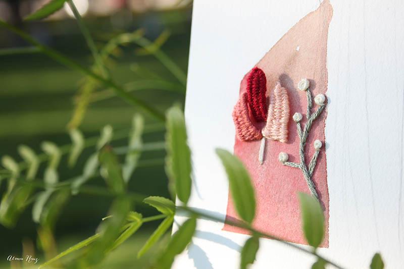 Bordados tridimensionales sobre papel