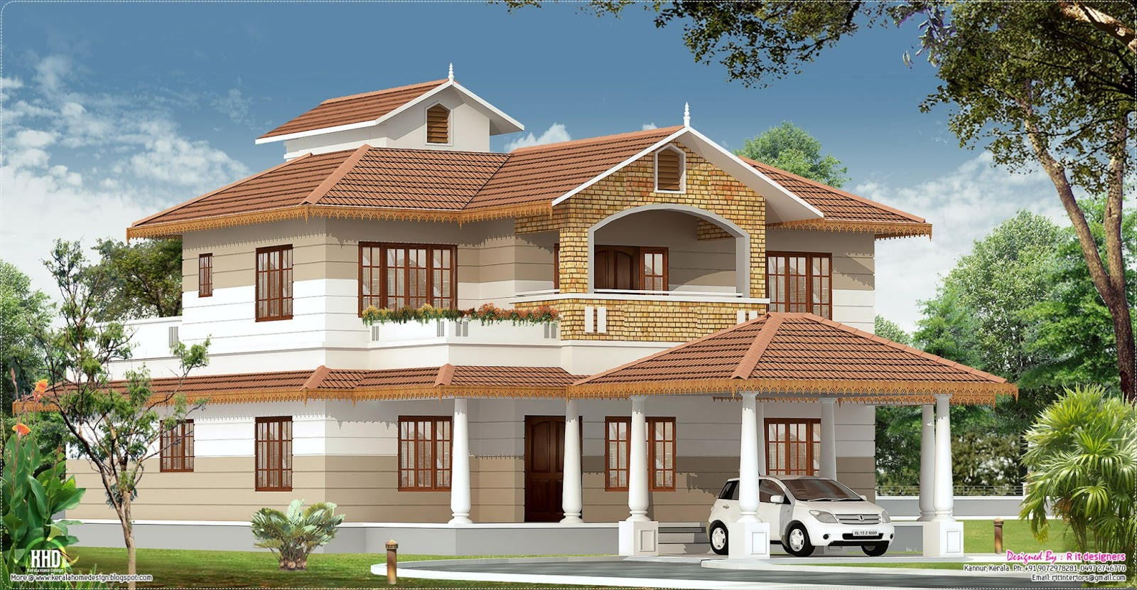 2700 kerala home with interior designs kerala for Latest kerala style home designs