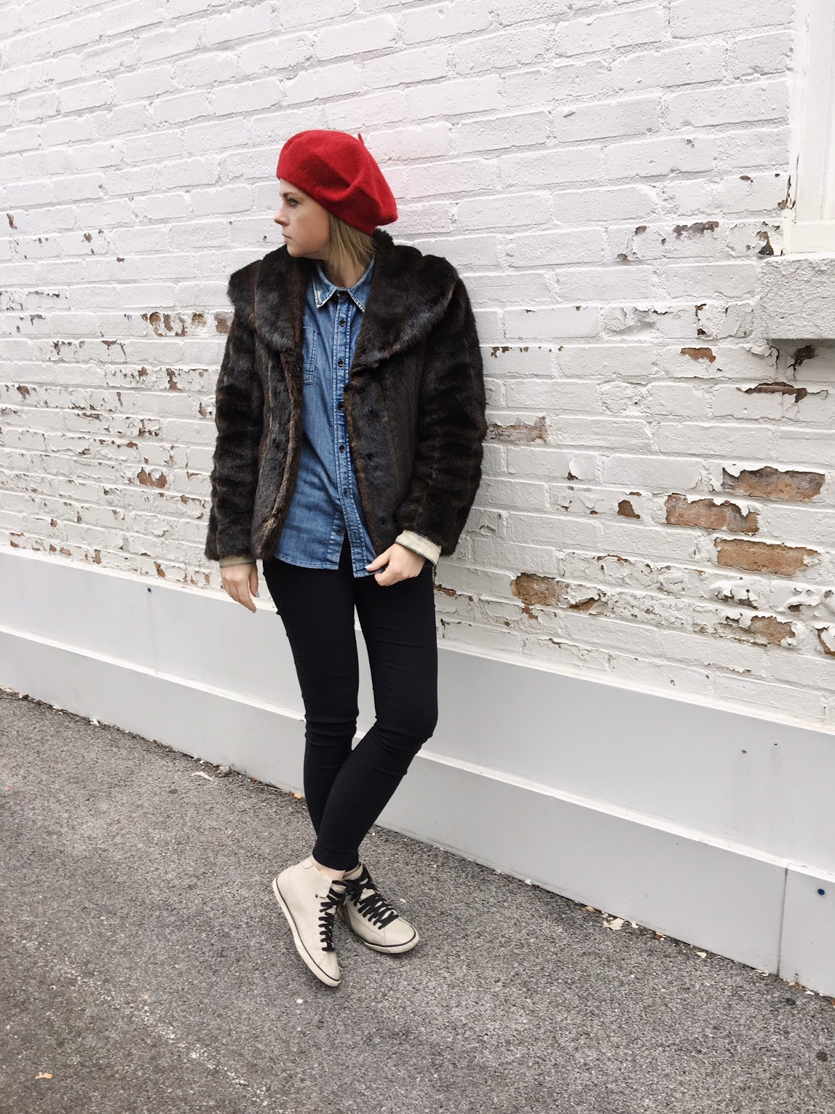 Red beret + a denim shirt