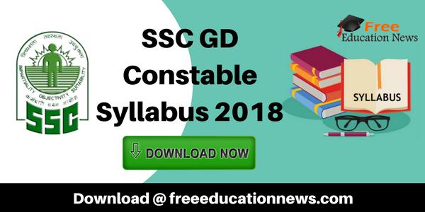 SSC GD Constable Syllabus 2018