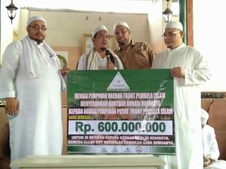 DPD FPI DKI Serahkan Bantuan Rp 600 Juta untuk Muslim Rohingya