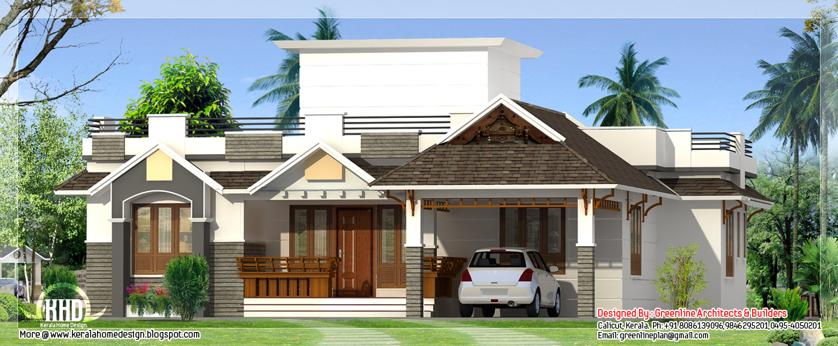 1400 3 bedroom single storey house kerala home for Single house front design