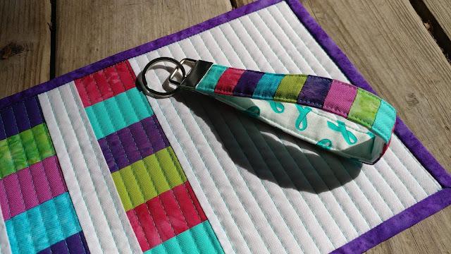 Batiks and solids for a modern Teal Mini Swap Mug Rug and key chain