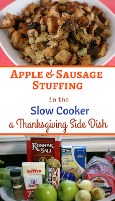 Apple and Sausage Stuffing in the crockpot slow cooker. This is a gluten free recipe but if you aren't gluten free feel free to use whatever bread you'd like.