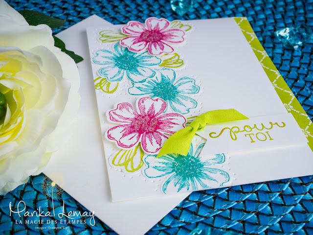 carte avec le jeu d'étampes Flower shot Stampin' up!