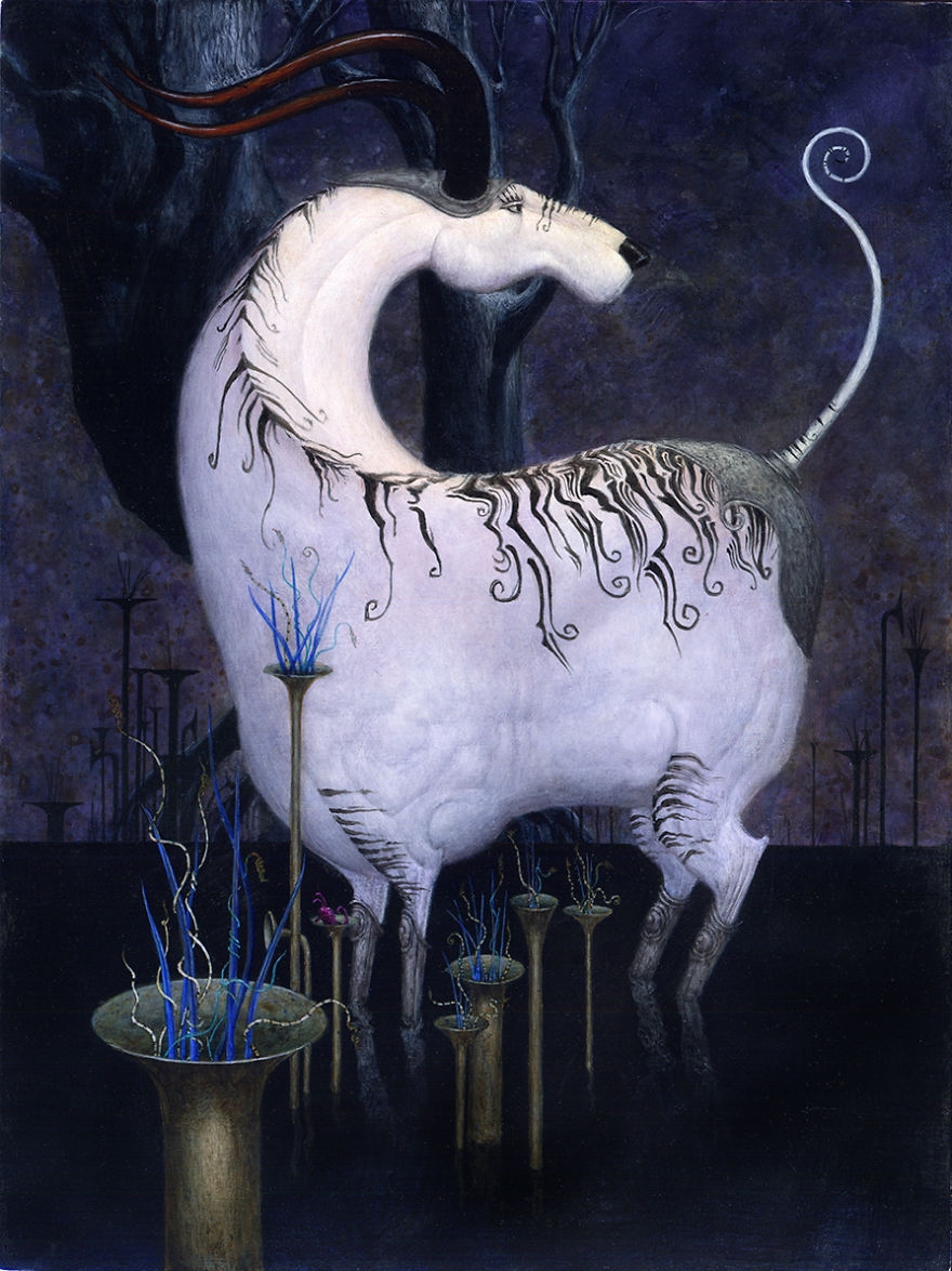 04-Horned-Bill-Carman-Surreal-Art-that-Speaks-to-the-Artist-as-he-Paints-www-designstack-co