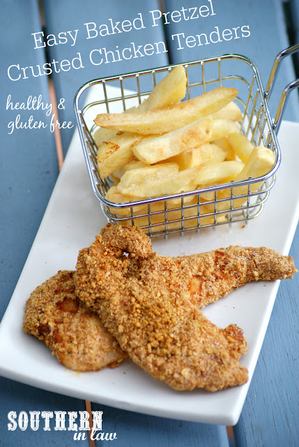 Healthy Baked Pretzel Crusted Chicken Tenders - healthy homemade fast food recipes, gluten free, low fat, clean eating friendly, baked chicken nuggets, healthy fried food