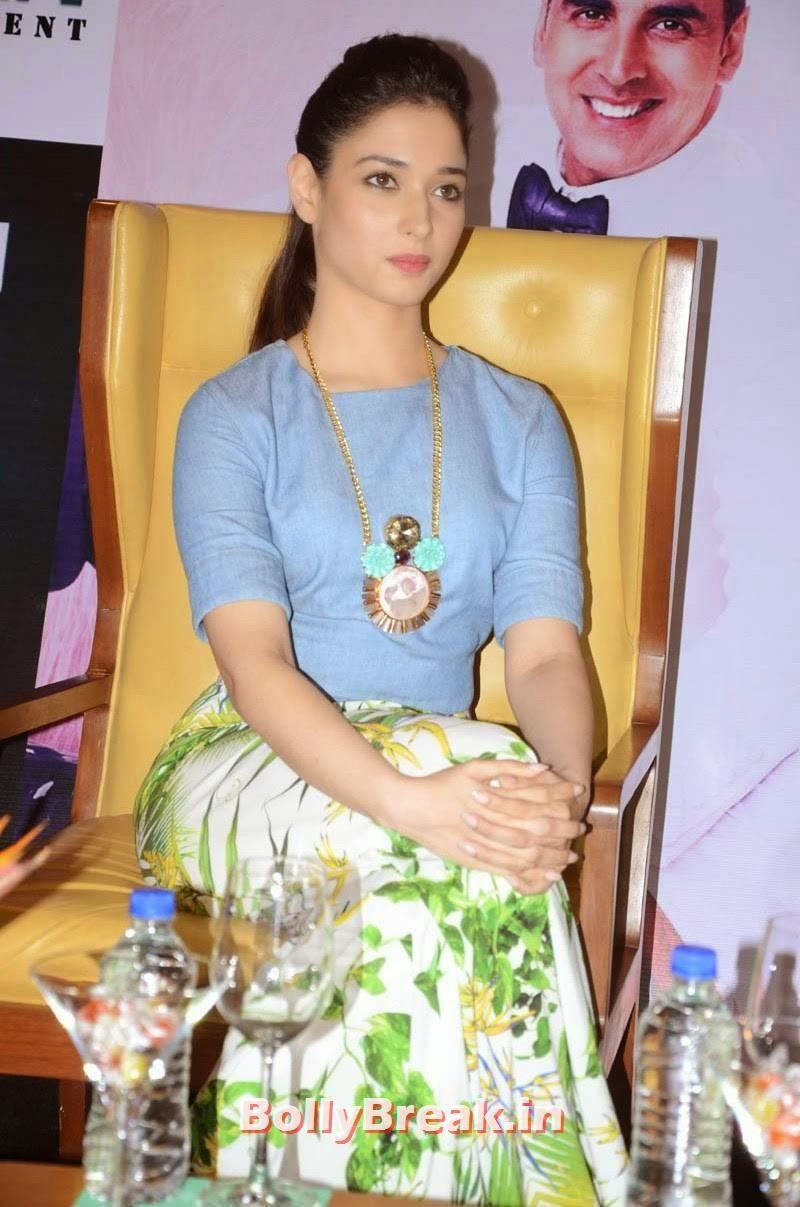 Tamanna Bhatia wearing a blue top, Tamanna Bhatia Pics from It's Entertainment Movie Press Meet