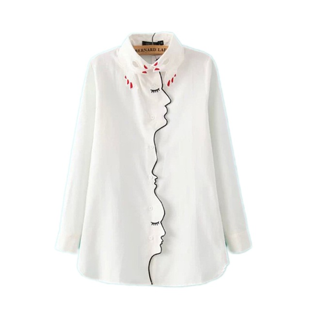 Romwe 2015 Autumn White Long Sleeve Hand Collar Embroidered Blouse