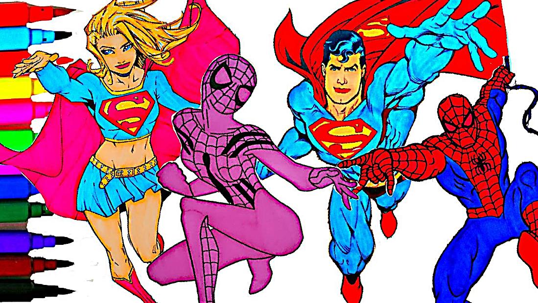 Disney Superheroes Coloring Book Pages Superman Spiderman Kids Fun