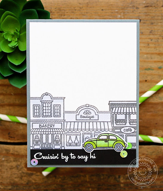 Sunny Studio Stamps: City Streets Masculine Cruisin' By To Say Hi Card by Vanessa Menhorn.