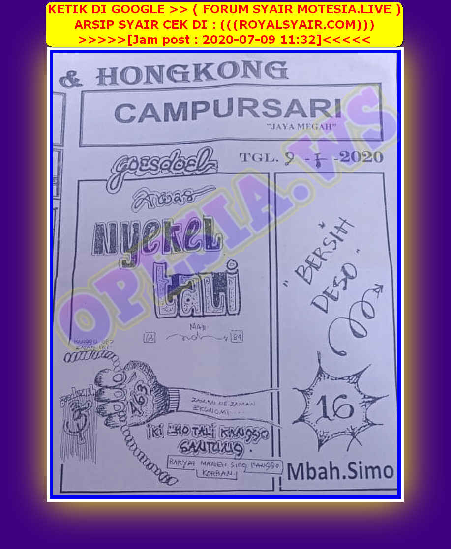 Kode syair Singapore Kamis 9 Juli 2020 37