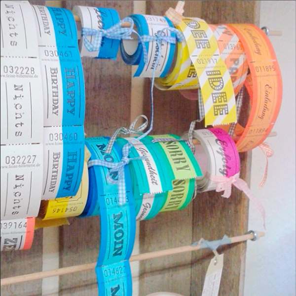 tickets on a handmade rack via Janna Werner