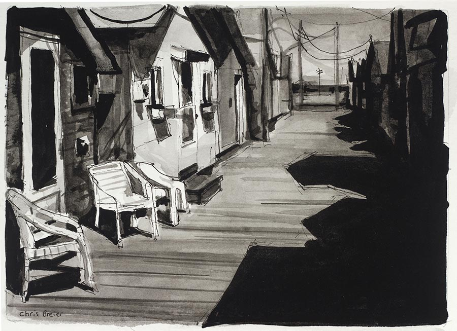Ink drawing of the boathouses at Canandaigua Lake