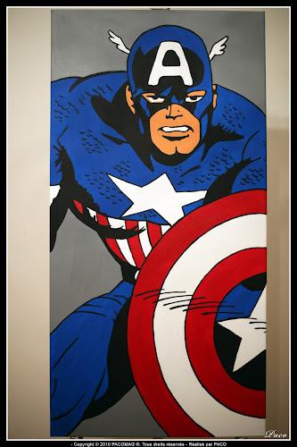 Captain América sur toile mis en couleur Par Paco illustrateur graphiste, artiste peintre