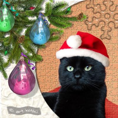 świąteczne ,kotyszki , koci scrapbook,