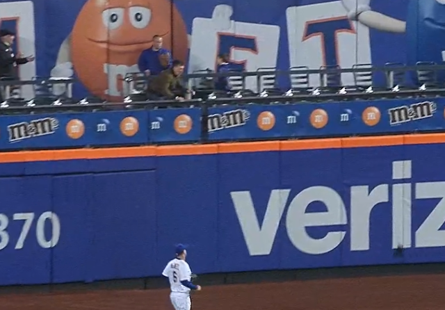 Mets fan throws hat at baseball