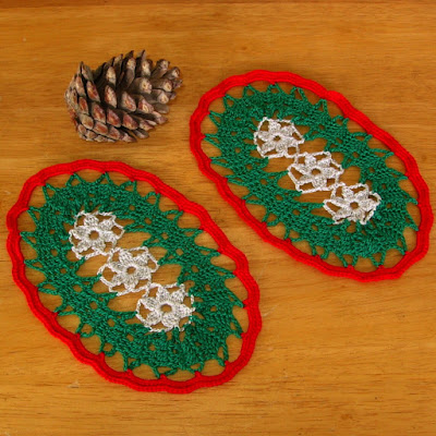 Holiday Red and Green Ovals with Silver Flowers - Hand-Crocheted by RSS Designs In Fiber