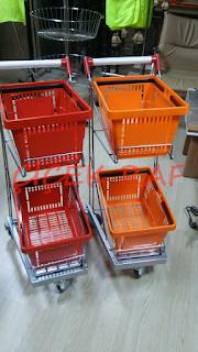 Çift katlı el sepetli market arabası