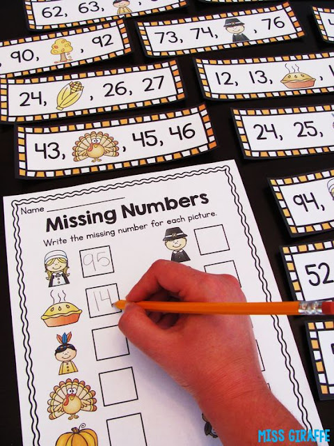 Thanksgiving math activity where kids look at the Thanksgiving character or object and write the missing number - super fun November math center!