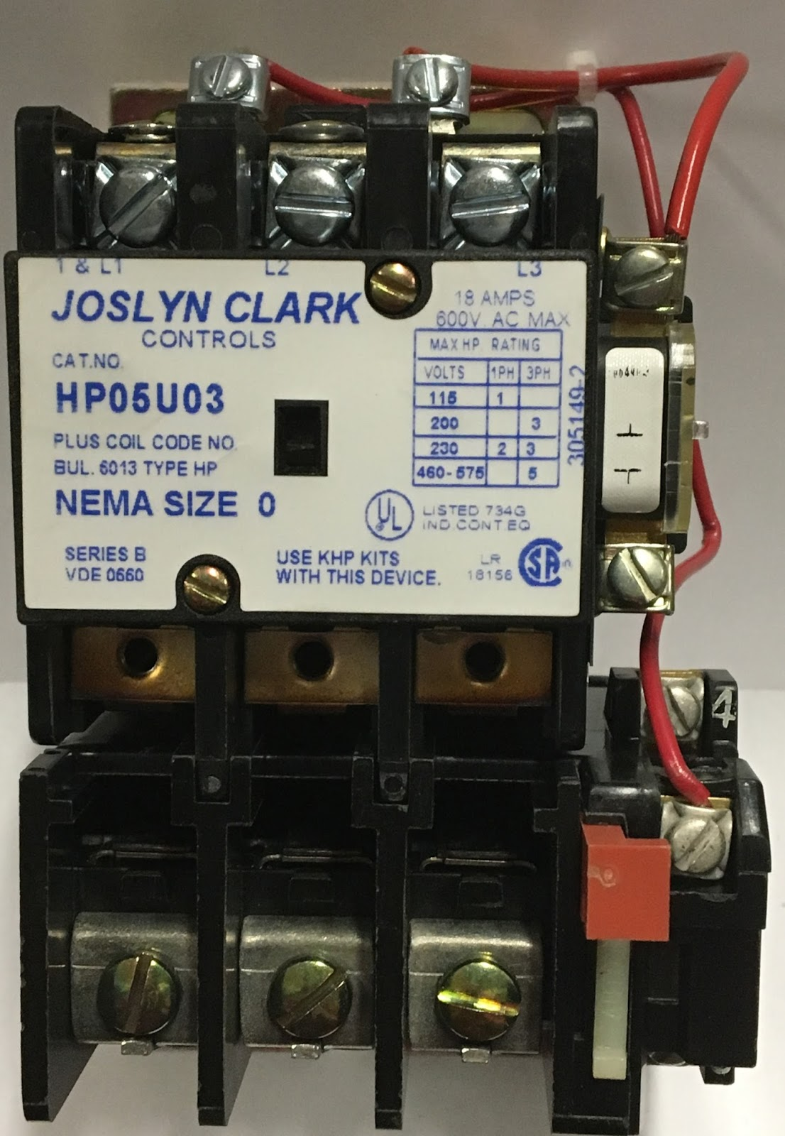Industrial Electric Switches Joslyn Clark Starters And Contactors 120 Volt Contactor Wiring Hp05u03 5 Hp Rating On 480 Volts 3 Phase With A 24 Vac Coil Voltage Horse Power Is 1hp 230 Single