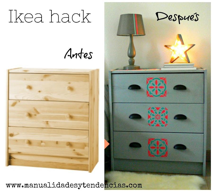 Antes y después de decorar una cajonera de pino de Ikea