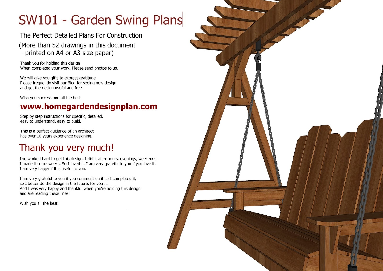 Swing Chair Drawing Small Comfortable Bedroom Chairs Home Garden Plans Sw101 Arbor Construction