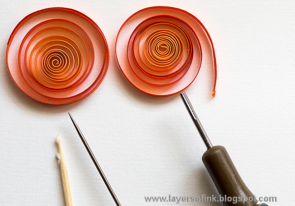 Layers of ink - Autumn Quilling Panel Tutorial by Anna-Karin, with quilled pumpkins.