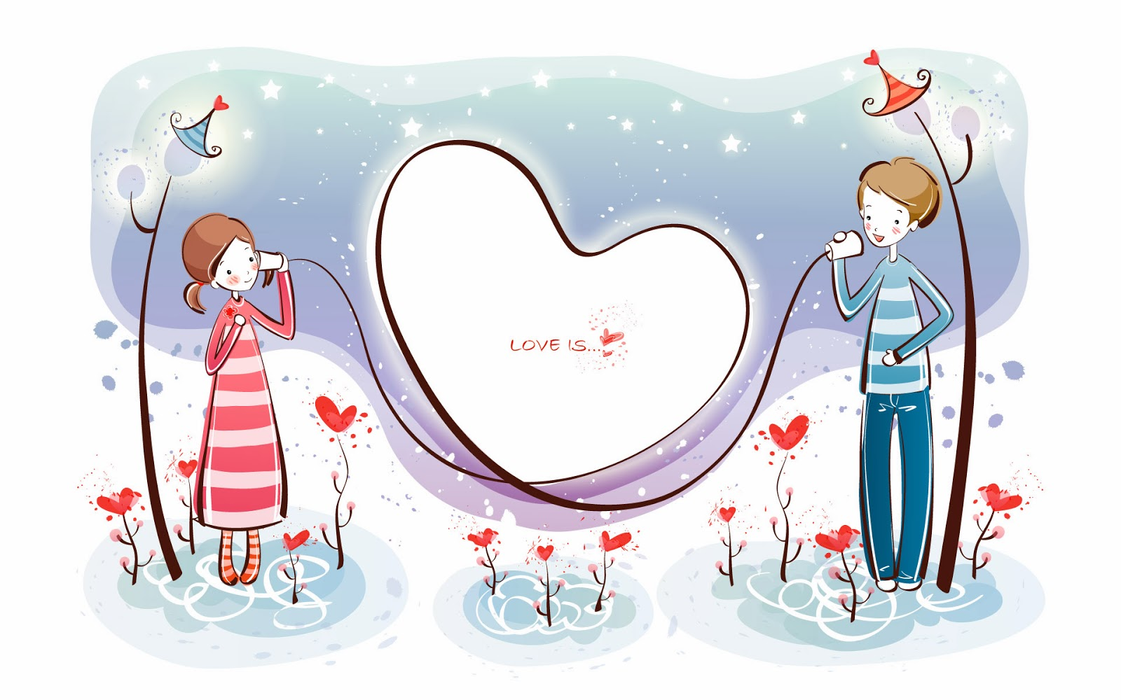 003 cartoon vector couple lovers KTQRJ 1012