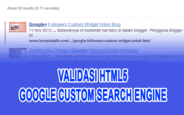 Validasi HTML5 Google Custom Search Engine