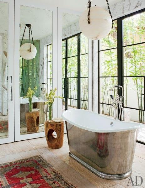 Jenni Kayne bathroom with freestanding tub in chrome finish in California  via belle vivir