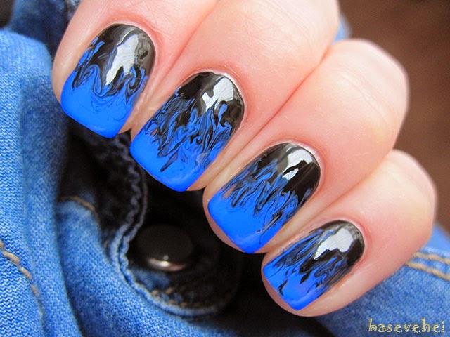 Baseveheinails Niebiesko Czarne Mani Z Użyciem Igły