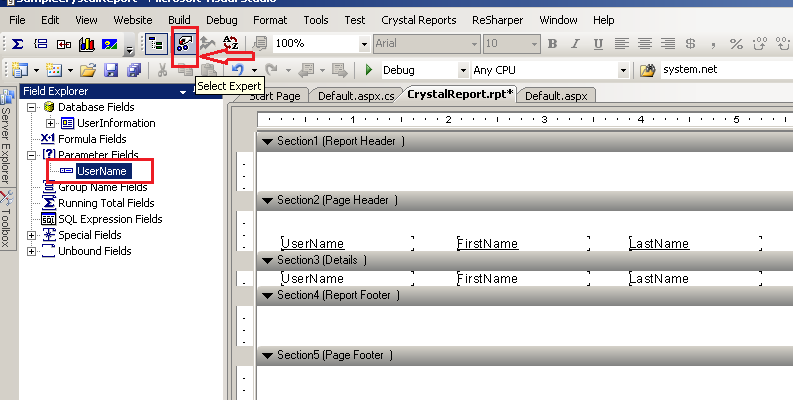 Pass parameters to Crystal Reports in asp net - ASP NET,C#