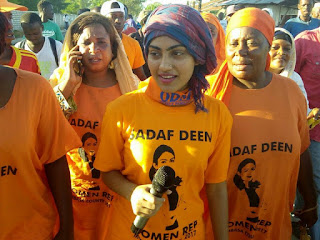 Sadaf Deen with her supporters in Bagla Mombasa. PHOTO | Courtesy