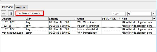 Set Master Password pada Winbox Mikrotik