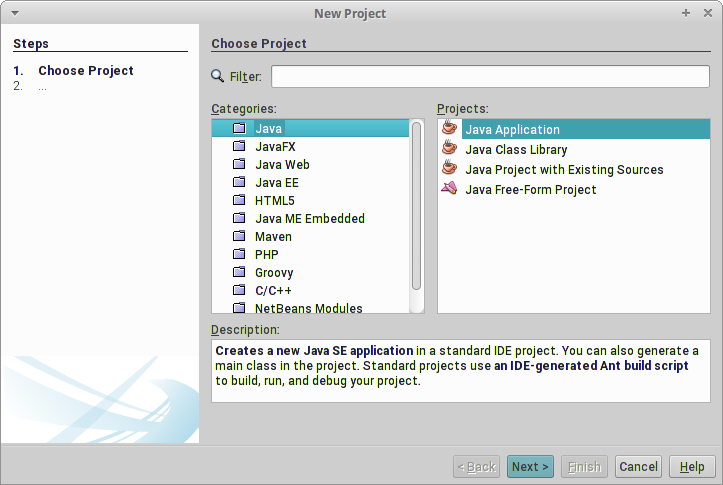 Creating a New Project in Netbeans