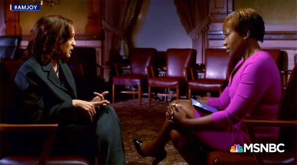 screenshot of Senator Kamala Harris sitting down with MSNBC's Joy Reid for an interview