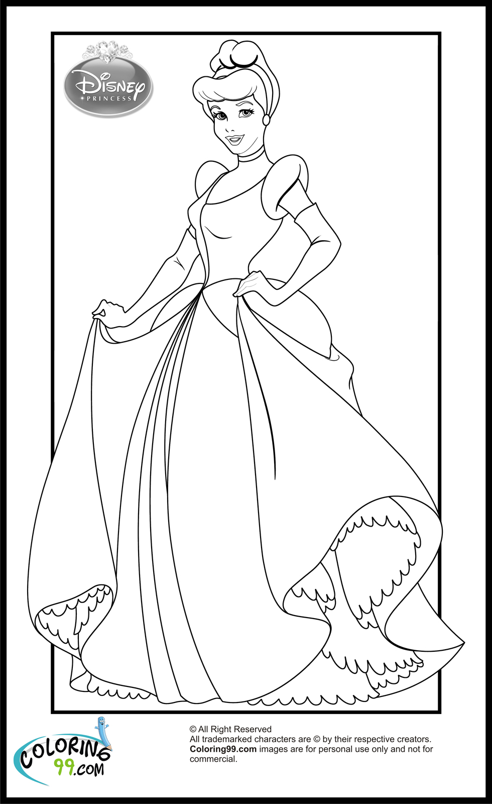 Disney Princesses 10 Coloring Page Central Sketch Coloring ... | all disney princess coloring pages printable