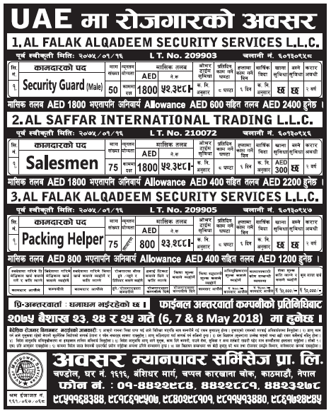 Jobs in UAE for Nepali, Salary Rs 52,398