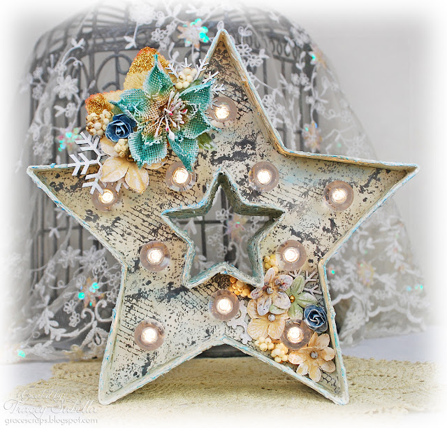 Shabby Chic altered Heidi Swapp Marquee Love lighted star