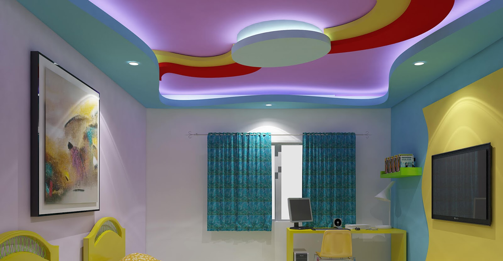 Top 25 false ceiling design options for kids rooms 2018 for Room design pop