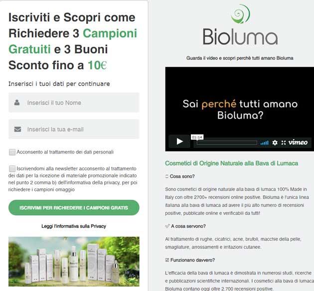 Cosmetici Bioluma: tre campioni gratis e 3 buoni sconto