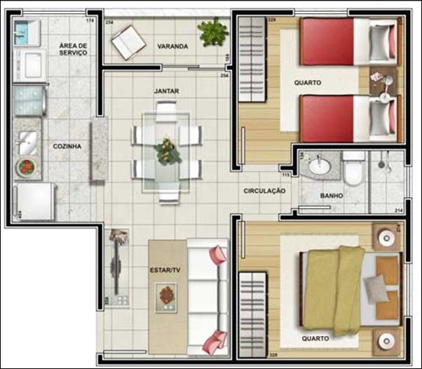 modelo casa 2 quartos