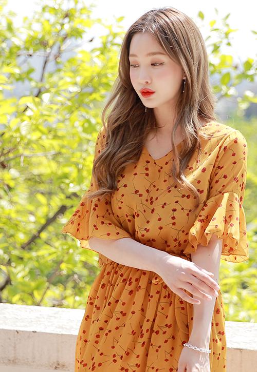 Tie-Waist Floral Midi Dress