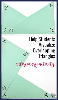 a congruent triangles activity to help students visualize overlapping triangles - great for high school geometry students beginning triangle congruence proofs
